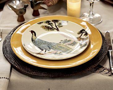 Img11m Pottery Barn\u0027s Thanksgiving catalog features a set of pheasant salad plates. & Pheasant Plates from Pottery Barn - Shakadoo