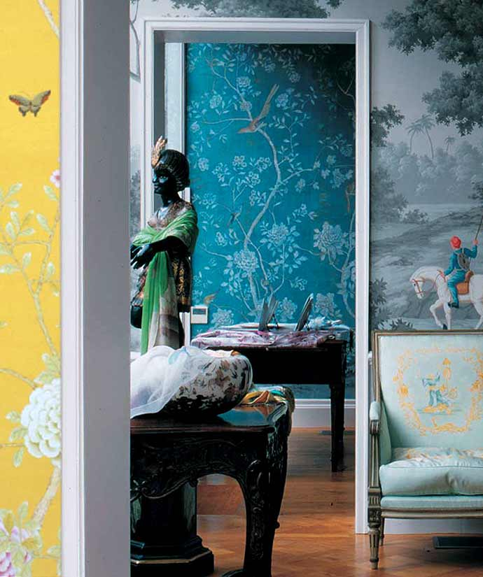 Diy chinoiserie wall panels wallpaper shakadoo for Chinese wallpaper mural