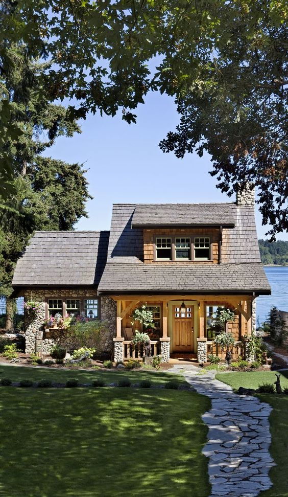Exterior, vertical, front elevation overall, Abair residence, Port Orchard, Washington, B.C. Timberframes